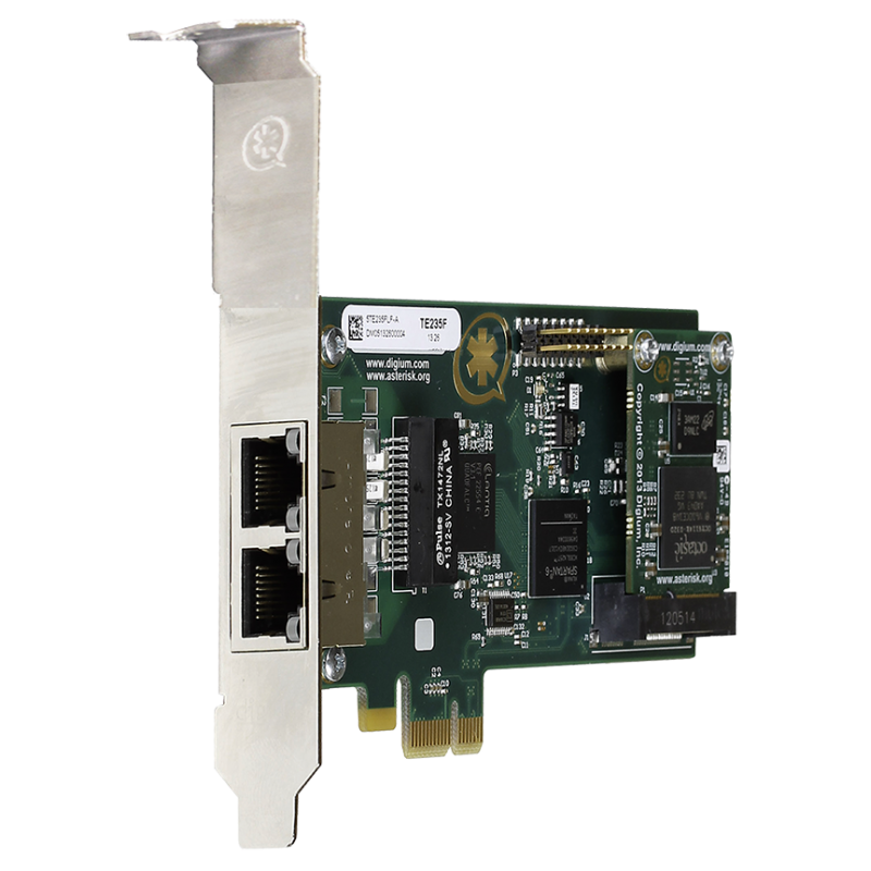 1TE235BF carte PCIe 2xE1/T2 PRI EUROISDN Digium Sangoma pour Asterisk Switchvox