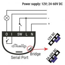 Shelly1 relais WIFI pour Domotique I/O alimenté en courant continu 12Vcc ou 24Vcc à 60Vcc.