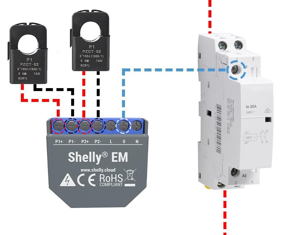 Shelly-EM cablage